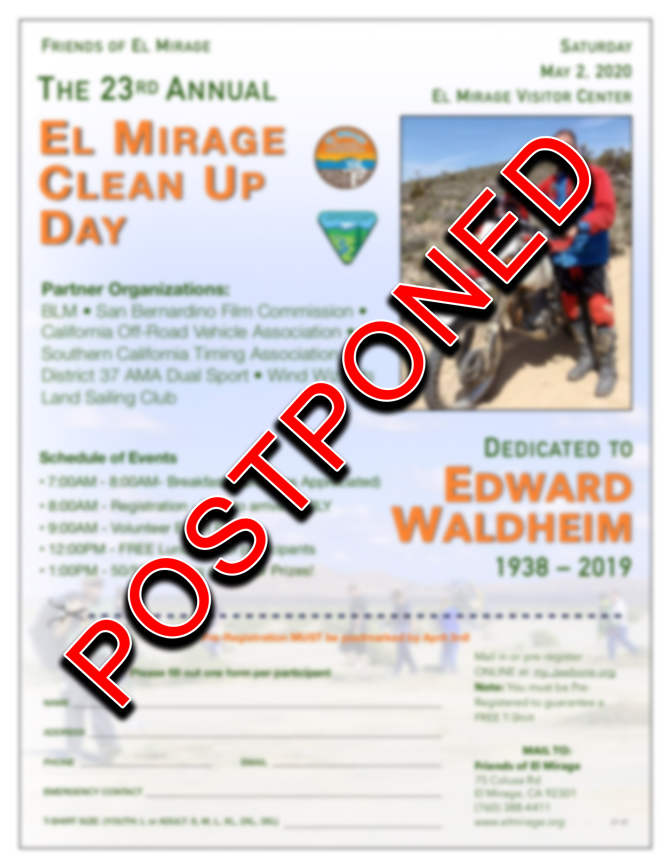 This image is the Spring Annual El Mirage Day registration/flyer that will be on May 2, 2020.